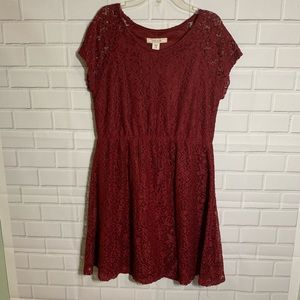 Adam Levine Wine Red Lace Dress Clinched Waist